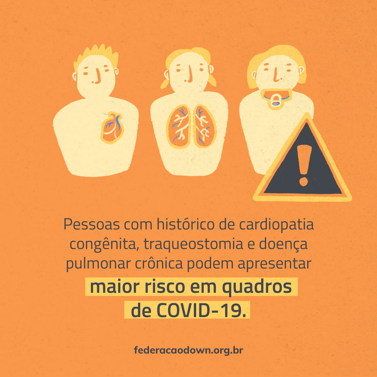 """Imagem: sobre fundo laranja, aparecem na metade superior da imagem a ilustração de três pessoas: a primeira delas é um adulto com o desenho de seu coração em destaque; a segunda, também adulta, tem destaque para seu pulmão; a terceira é uma criança, identificada por uma chupeta em sua boca, próximo a ela está um ponto de exclamação. Abaixo está em preto a frase: """"Pessoas com histórico de cardiopatia congênita, traqueostomia e doença pulmonar crônica podem apresentar maior risco em quadros de COVID-19"""". A seguir surge o site federacaodown.org.br."""